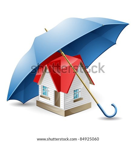 The house with a red roof under a blue umbrella