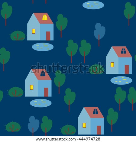 The houses and trees on white background. Vector seamless pattern with houses, trees and lakes.