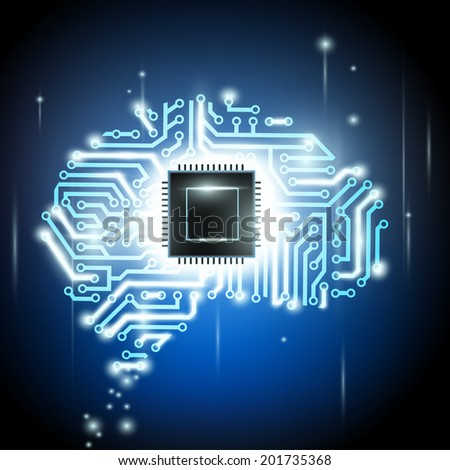 the human brain as a computer chip - stock vector