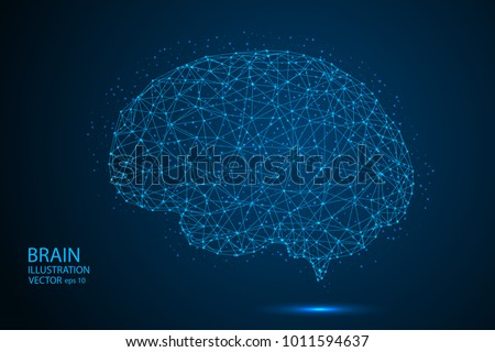 The human brain consists of lines and triangles. The illustration is made up of polygons and points, stars in the sky. Vector EPS 10.