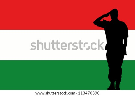 The Hungary flag and the silhouette of a soldier saluting - stock vector