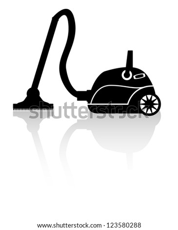 The icon in the form of cleaner silhouette with reflection - stock vector