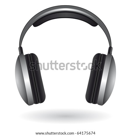 The icon with the headphones. Vector illustration - stock vector