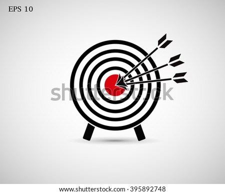 The icon with the target hit the target. Vector. - stock vector