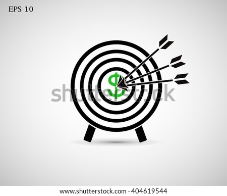 The icon with the target hit the target. Vector EPS 10 - stock vector