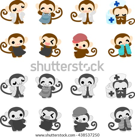 The icons of cute monkeys