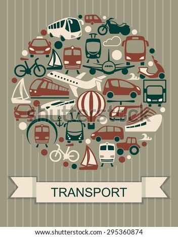 The icons of various modes of transport in the form of a circle - stock vector