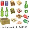 The icons set: Package and Trash. The junk package ready to recycling: the bottles, the cans and the boxes.  Includes the Illustrator 8.0 editable vector EPS file and Hi-res JPG. - stock photo