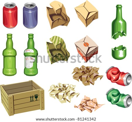 The icons set: Package and Trash. The junk package ready to recycling: the bottles, the cans and the boxes.  Includes the Illustrator 8.0 editable vector EPS file and Hi-res JPG. - stock vector