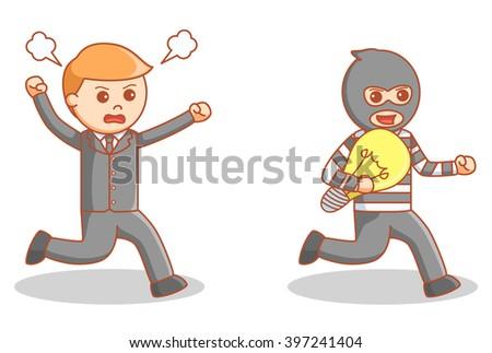 The idea burglar - stock vector