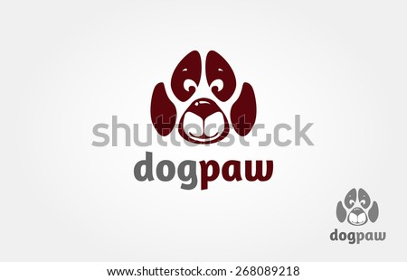 The idea of this logo try to incorporate between dog face and a paw, it's fun, creative, and interesting logo. it's good for pet logo, pet shop, pet services, pet hospital or veterinary and others - stock vector
