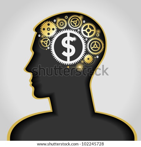 the idea to earn money. the silhouette of a human head with a lamp and a dollar. File is saved in AI10 EPS version. This illustration contains a transparency - stock vector