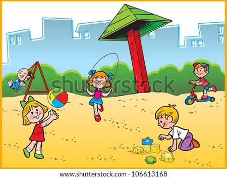 The illustrated several kids in a sandbox.They play ball, jump, play in the sand.An illustration is divided into layers.