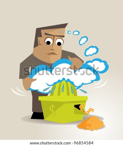 The illustration is a metaphor about making economic returns to the ideas or creativity - stock vector