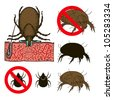 The illustration of a prohibition sign for house dust mites - stock vector