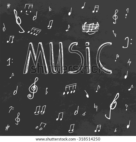 The illustration of beautiful black musical background with chalk handwriting. Music class blackboard. Totally vector fully scalable image with white handwritten text. - stock vector