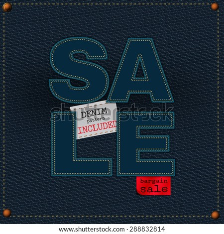 The illustration of  beautiful jeans sale patchwork element on a textured background. Totally vector image. Additional seamless denim pattern included. Useful for a clothing store promo advertising. - stock vector