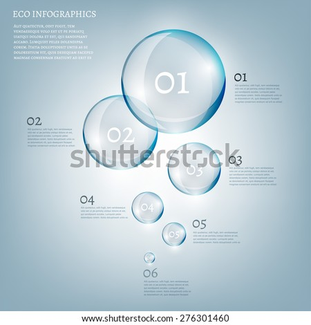 The illustration of beautiful scientific bio infographics with transparent bubbles. Ecology concept. Vector image. - stock vector