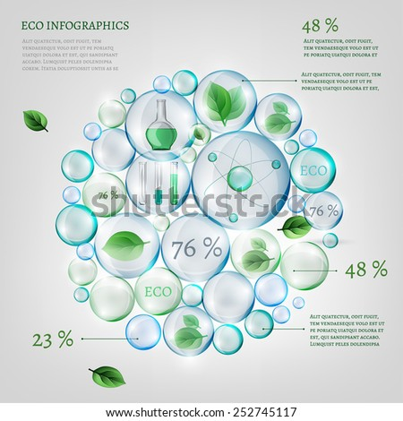 The illustration of bio infographics with green leaves and science equipment in transparent bubbles. Ecology set.