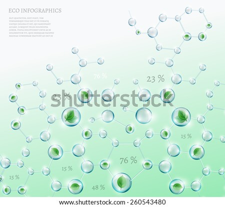 The illustration of bio infographics with green leaves in transparent molecules. Ecology and biochemistry concept. - stock vector