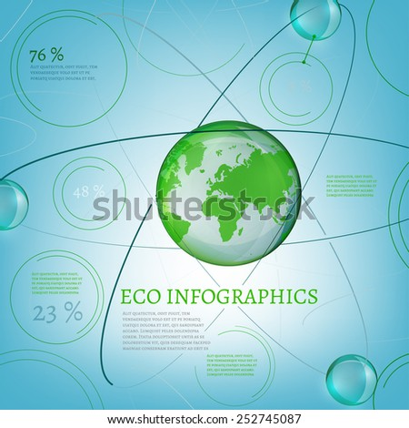 The illustration of bio infographics with world map and atomic structure. Ecology set.