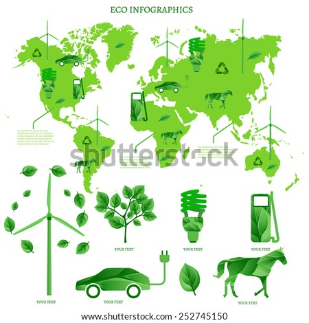 The illustration of ecological green world map. Vector image with infographic elements.