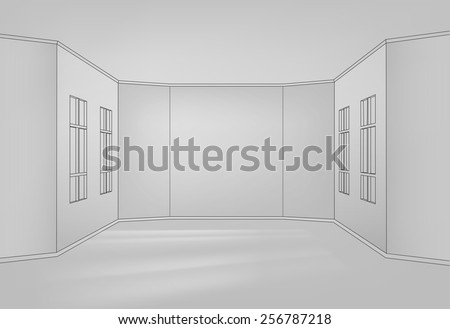 The illustration of empty white room for the interior design. Vector image.  - stock vector