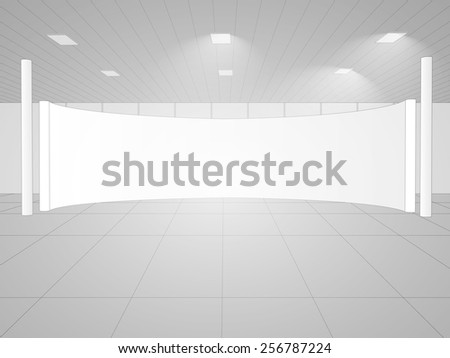 The illustration of empty white room for the interior design. Vector image.