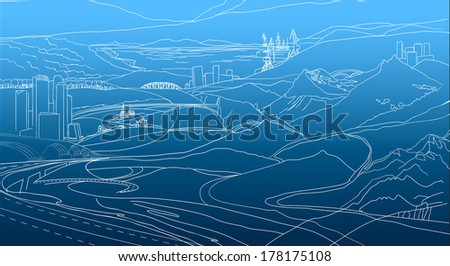 The illustration of geographical background. Vector image. - stock vector