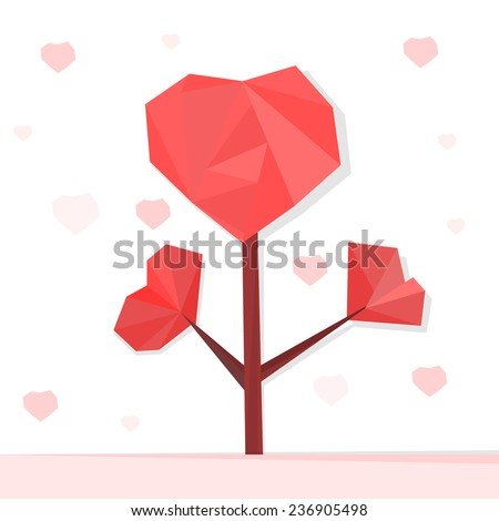 The illustration of graphic heart tree. Vector image.