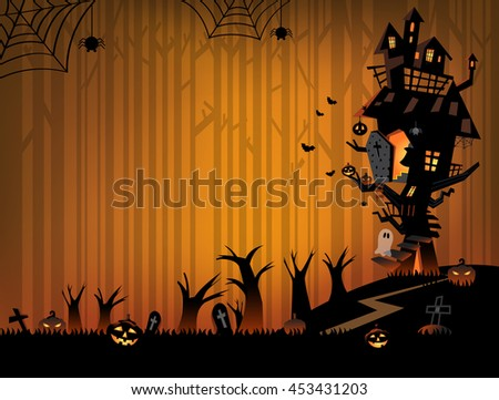 The illustration of Halloween night background. Big trees and a haunted house in the dark woods. A ghost and pumpkins for trick or treat.