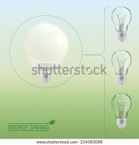 The illustration of lighting bulbs. Energy saving concept. Vector image. - stock vector