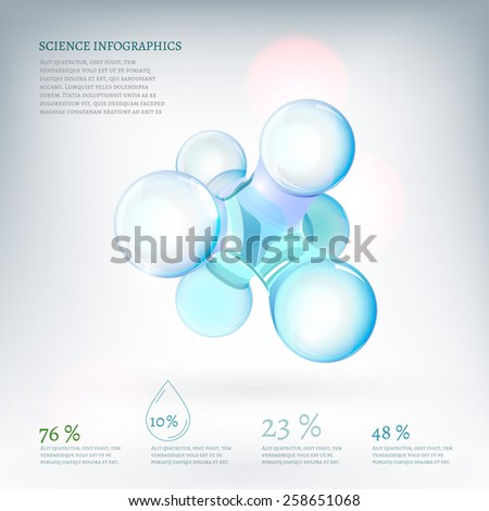 The illustration of molecule with infographics elements. Research and experiment charts and diagrams. Vector image for school and science templates. - stock vector