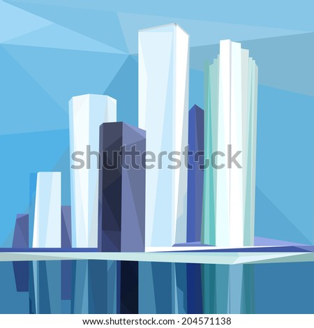 The illustration of polygonal city. Vector image. - stock vector