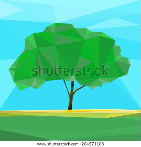 The illustration of polygonal tree. Vector image.