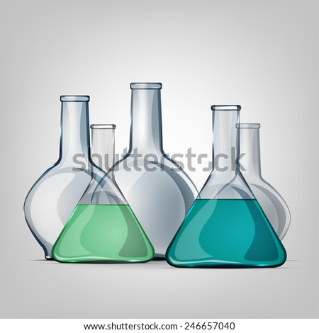 The illustration of scientific test-tubes. Vector image.