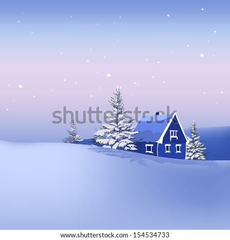 The illustration of snow landscape Background. Vector image.