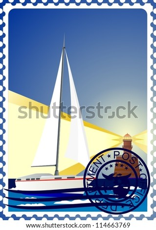 The illustration on a postage stamp. Night. The lighthouse and the yacht at sea.