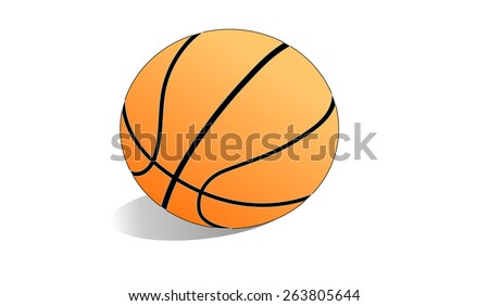 The illustration shows a basketball on a white background - stock vector
