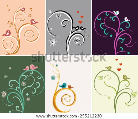 The illustration shows a beautiful vector backgrounds with floral patterns and birds. Illustration done on separate layers. - stock vector
