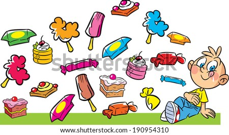 The illustration shows a boy on a background of different chocolates, sweets and baking. Illustration done in cartoon style, on separate layers. - stock vector