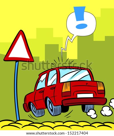 The illustration shows a cartoon car near a road sign on the street.