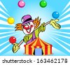 The illustration shows a clown who juggles balls against the background of a circus tent. Illustration done in cartoon style, on separate layers. - stock