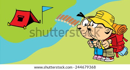 The illustration shows a couple of young tourists near the camp. Illustration done in cartoon style, on separate layers. - stock vector