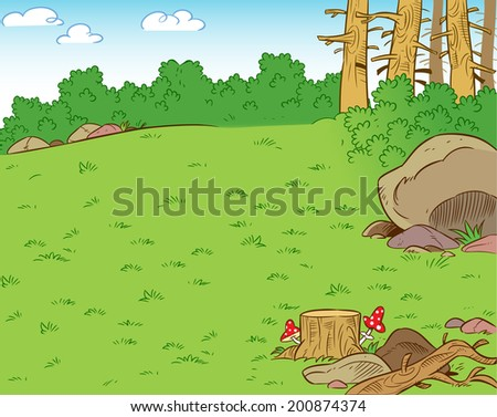 The illustration shows a forest clearing in the summer season. Illustration can be used as a background, done in cartoon style. - stock vector