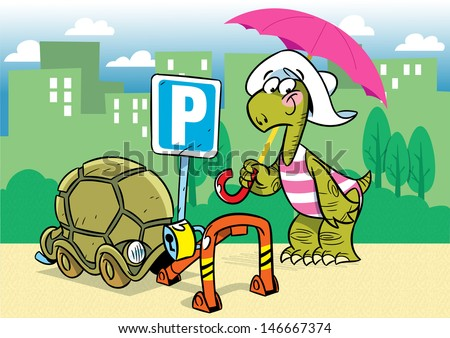 The illustration shows a funny cartoon tortoise. She parked in the parking lot its shell as a means of transportation. Parking is shown in the background of the city