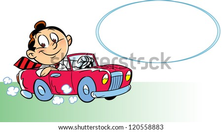 The illustration shows a  happy man driving a car. Separately on the background of your block for the text. Illustration done in cartoon style.