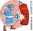 The illustration shows a man boxer on training. He fulfills blows at a punching bag. Illustration done in cartoon style, background on a separate layer. - stock photo