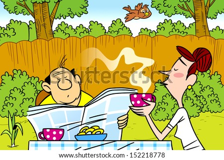 The illustration shows a married couple at lunch in the garden. Illustration done in cartoon style.