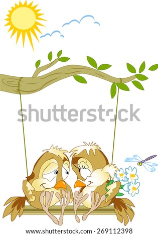 The illustration shows a pair of lovebirds birds sitting on a swing. Illustration done as a funny card, in cartoon style, on separate layers. - stock vector